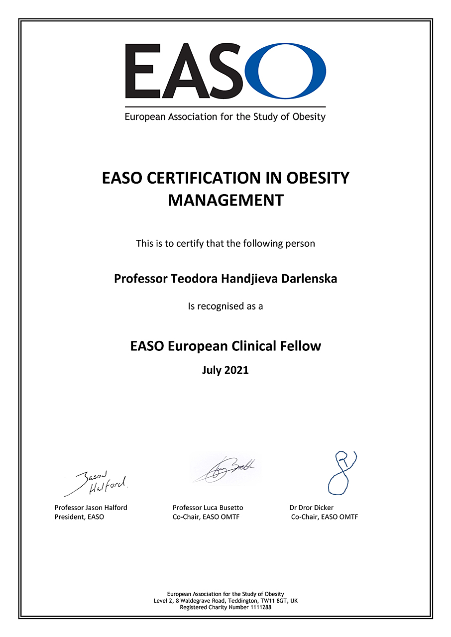 EASO Certification in Obesity Management - European (Handjieva Darlenska)